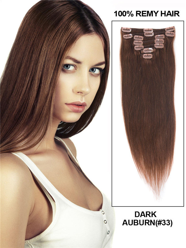 Dark Auburn(#33) Ultimate Straight Clip In Remy Hair Extensions 9 Pieces-np cih087
