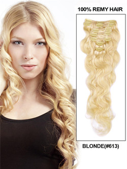 Bleach White Blonde(#613) Premium Body Wave Clip In Hair Extensions 7 Pieces cih088