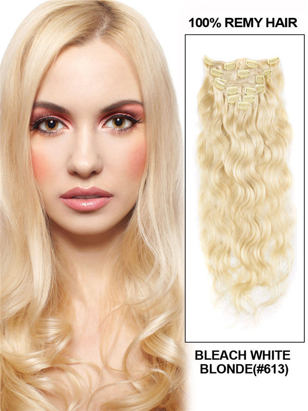 Bleach White Blonde(#613) Deluxe Body Wave Clip In Human Hair Extensions 7 Pieces