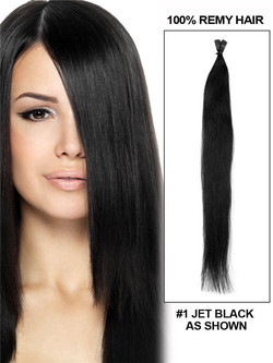 50 Piece Silky Straight Stick Tip/I Tip Remy Hair Extensions Jet Black(#1)