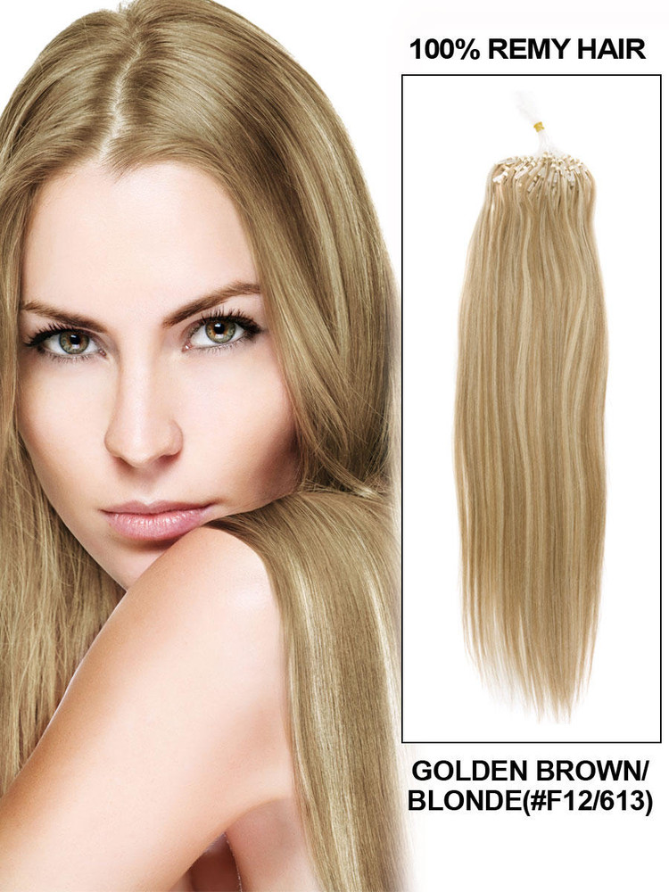 Remy Micro Loop Hair Extensions 100 Strands Silky Straight Golden Brown/Blonde(#F12/613) mlh001