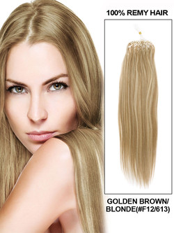 Remy Micro Loop Hair Extensions 100 Strands Silky Straight Golden Brown/Blonde(#F12/613)