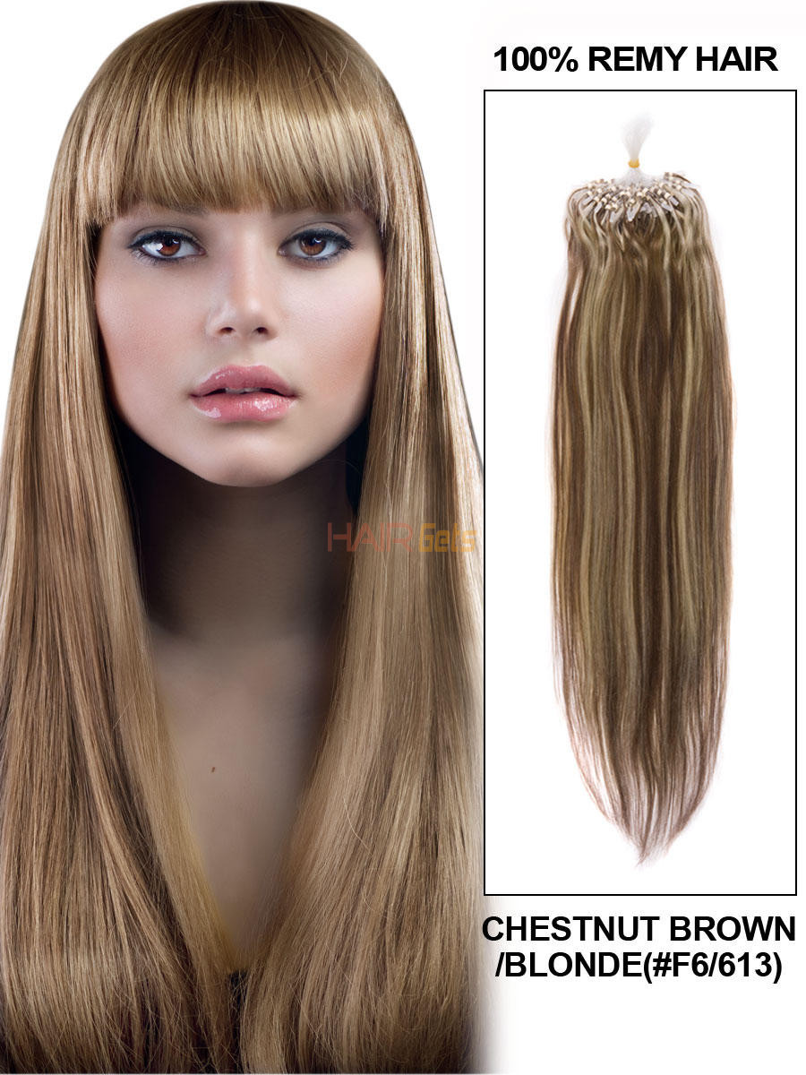 Micro Loop Human Hair Extensions 100 Strands Silky Straight Chestnut Brown/Blonde(#F6/613) mlh002