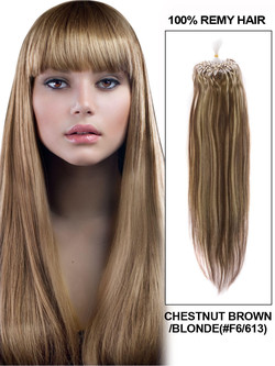 Micro Loop Human Hair Extensions 100 Strands Silky Straight Chestnut Brown/Blonde(#F6/613)