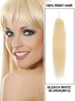 Remy Micro Loop Hair Extensions 100 Strands Silky Straight Bleach White Blonde(#613)
