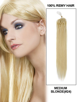 Micro Loop Remy Hair Extensions 100 Strands Silky Straight Medium Blonde(#24)