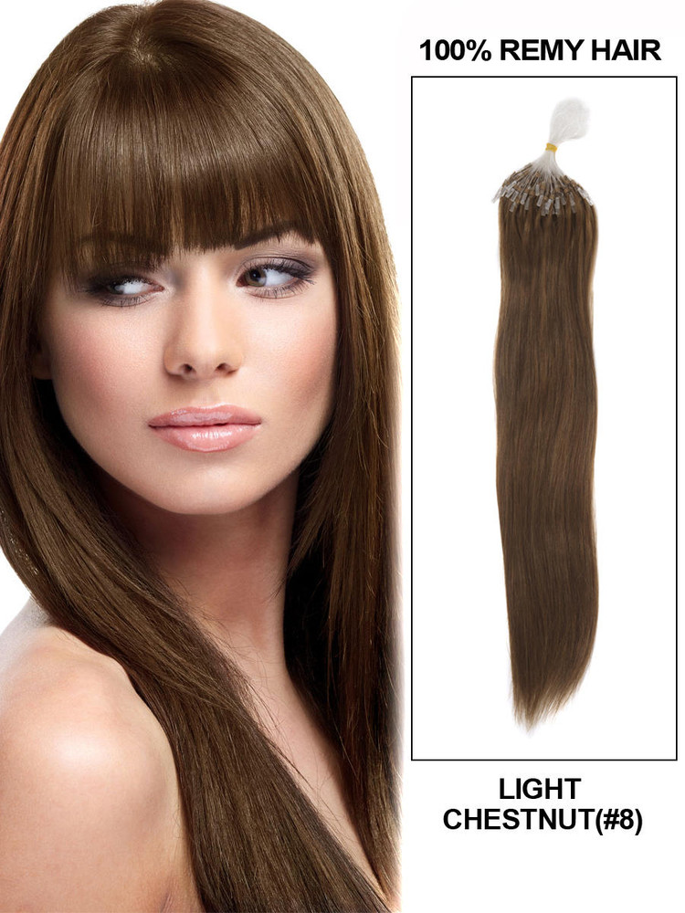 Human Micro Loop Hair Extensions 100 Strands Silky Straight Light Chestnut(#8)