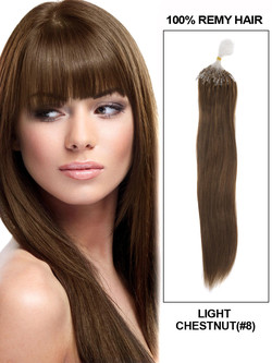 Human Micro Loop Hair Extensions 100 Strands Silky Straight Light Chestnut(#8) mlh005