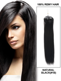 Micro Loop Human Hair Extensions 100 Strands Silky Straight Natural Black(#1B)