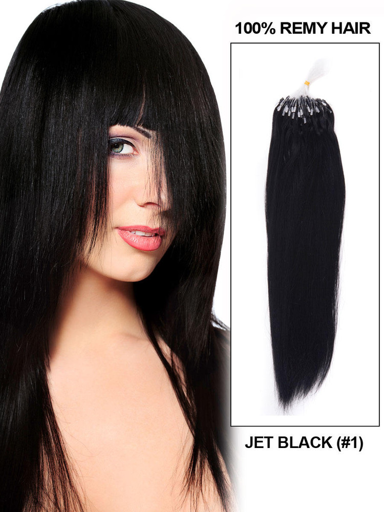 Remy Micro Loop Hair Extensions 100 Strands Jet Black(#1) Silky Straight