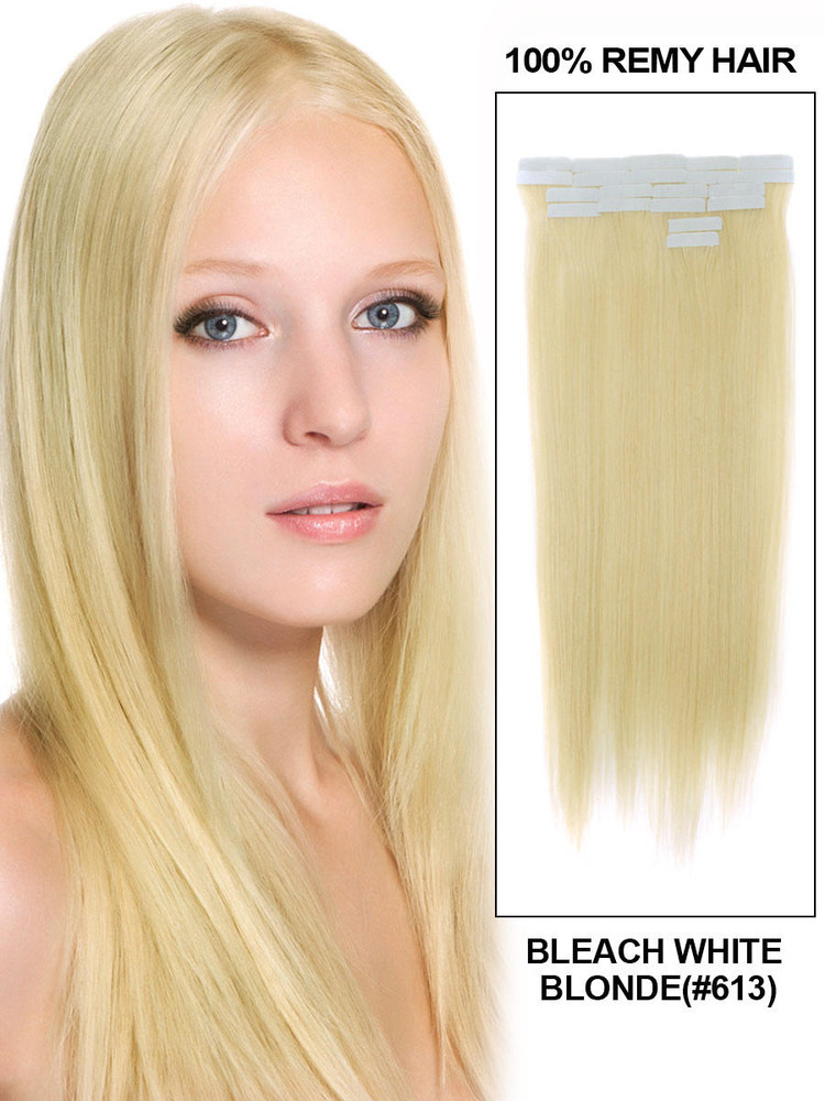 Tape In Human Hair Extensions 20 Piece Silky Straight Bleach White Blonde(#613) tih001