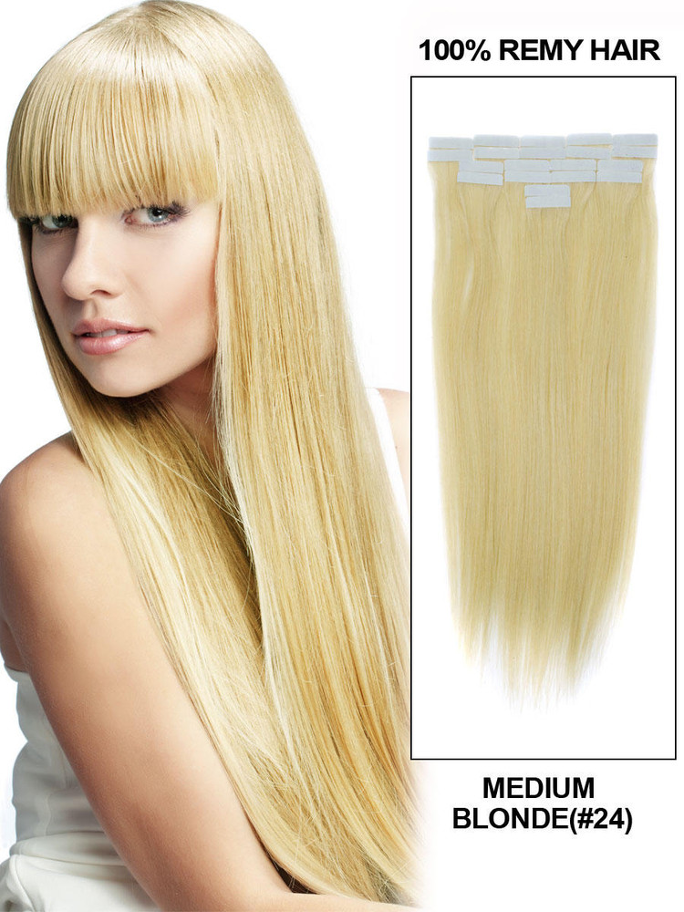 Tape In Human Hair Extensions 20 Piece Silky Straight Medium Blonde(#24) tih002