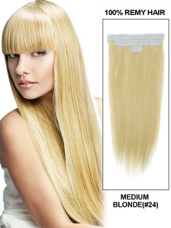 Tape In Human Hair Extensions 20 Piece Silky Straight Medium Blonde(#24)