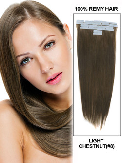 Remy Tape In Hair Extensions 20 Piece Silky Straight Light Chestnut(#8)