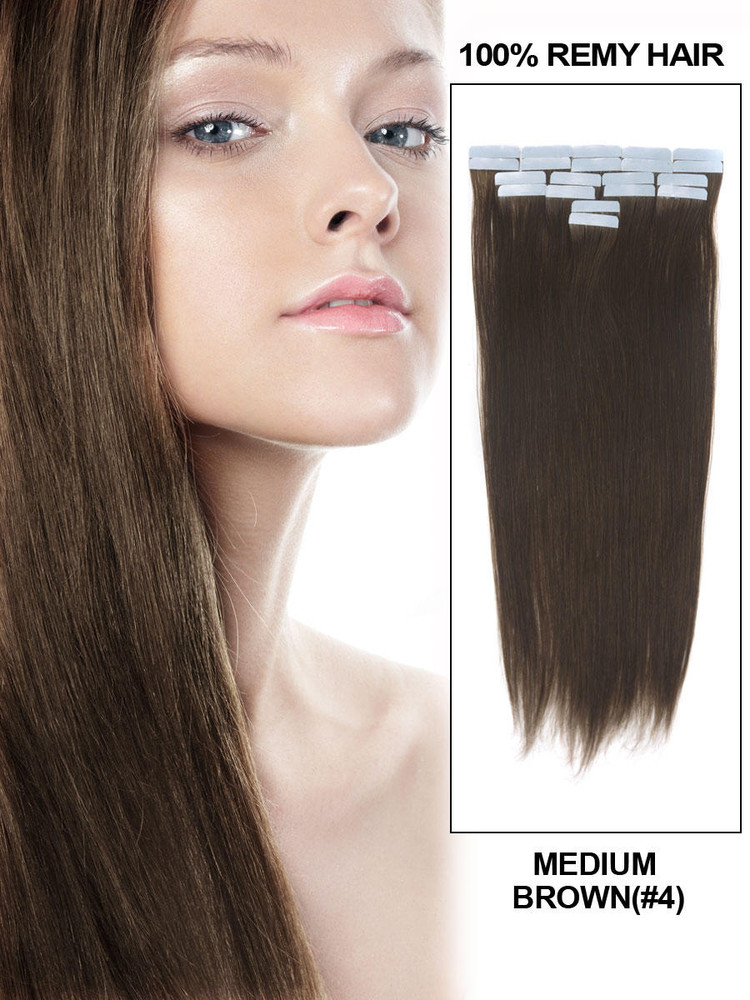 Remy Tape In Hair Extensions 20 Piece Silky Straight Medium Brown(#4)