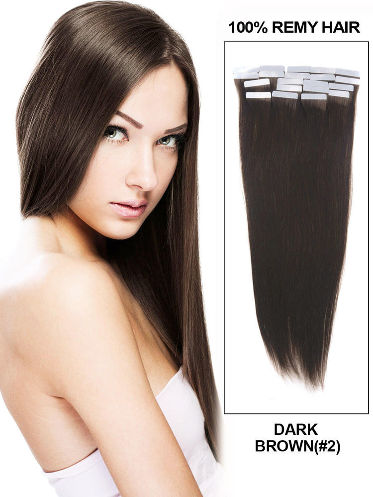 Tape In Remy Hair Extensions 20 Piece Silky Straight Dark Brown(#2) tih005