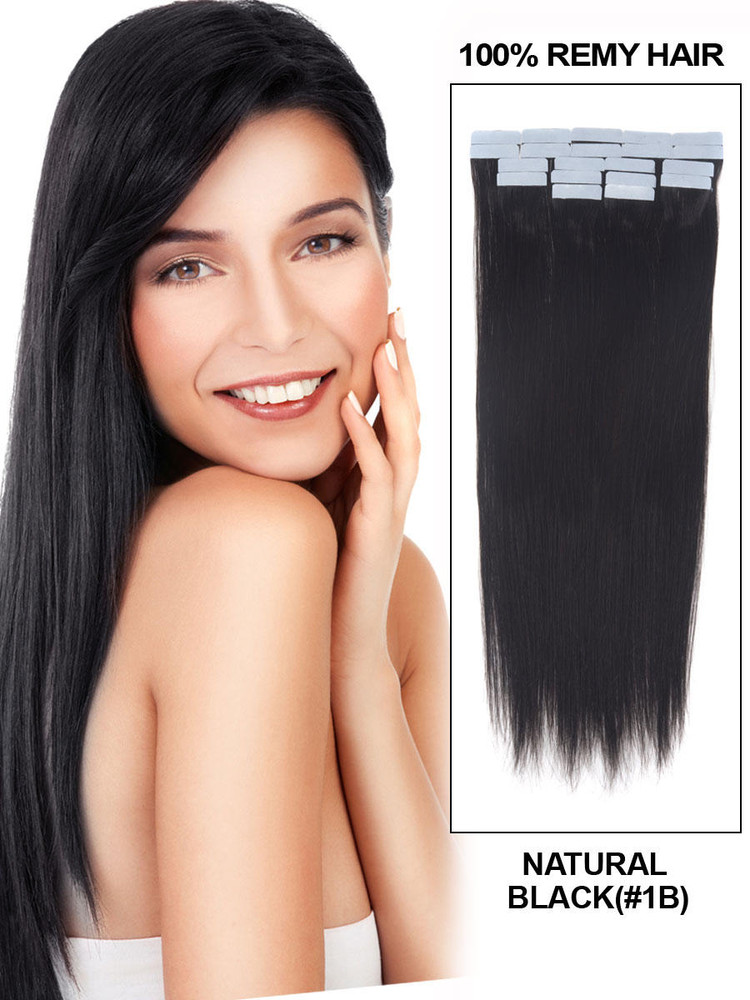Remy Tape In Hair Extensions 20 Piece Silky Straight Natural Black(#1B) tih006