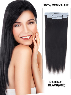 Remy Tape In Hair Extensions 20 Piece Silky Straight Natural Black(#1B)