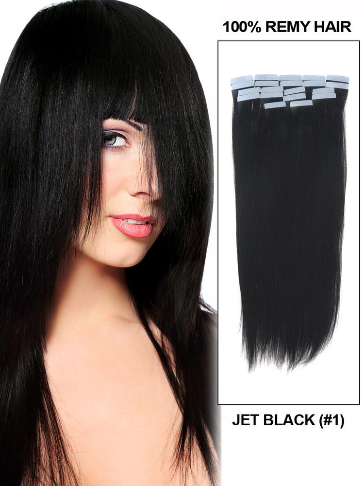 Tape In Remy Hair Extensions 20 Piece Silky Straight Jet Black(#1) tih007