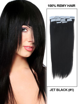 Tape In Remy Hair Extensions 20 Piece Silky Straight Jet Black(#1)