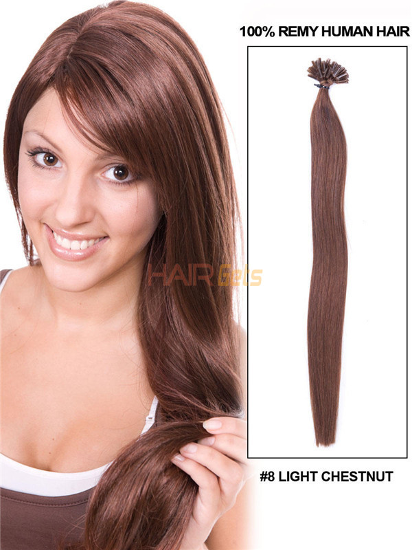50 Piece Silky Straight Nail Tip/U Tip Remy Hair Extensions Light Chestnut(#8) uth004