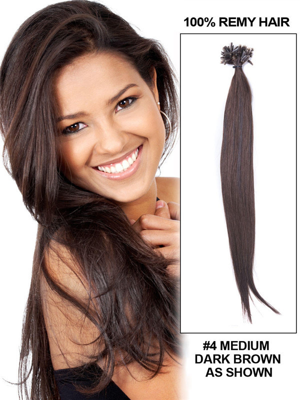 50 Piece Silky Straight Remy Nail Tip/U Tip Hair Extensions Medium Brown(#4)