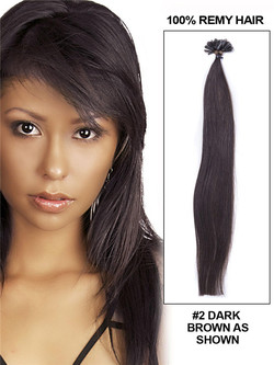 50 Piece Silky Straight Remy Nail Tip/U Tip Hair Extensions Dark Brown(#2)