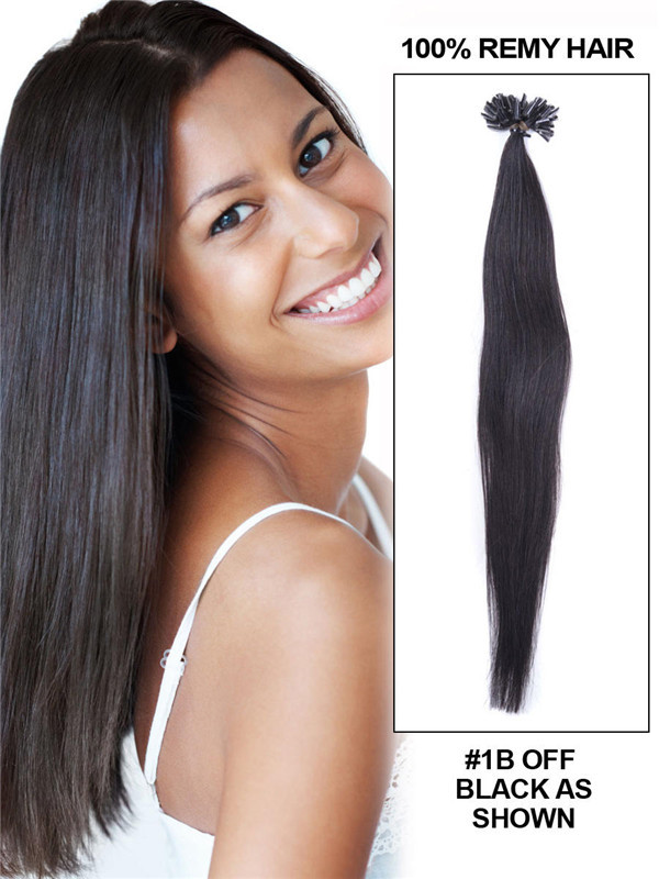 50 Piece Silky Straight Remy Nail Tip/U Tip Hair Extensions Natural Black(#1B) uth007