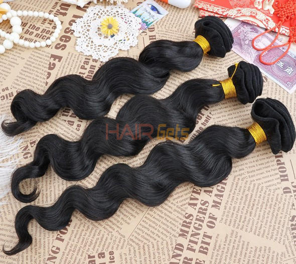 7a Virgin Brazilian Hair Extensions Loose Wave Natural Black Bhw039