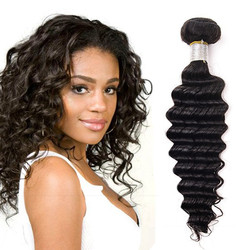 7A Virgin Brazilian Hair Extensions Deep Wave Natural Black