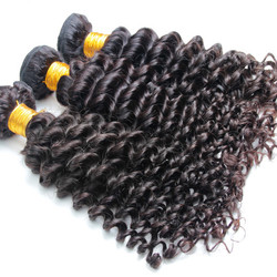 3 Bundle Deep Wave 8A Virgin Brazilian Hair Weave Natural Black bhw014