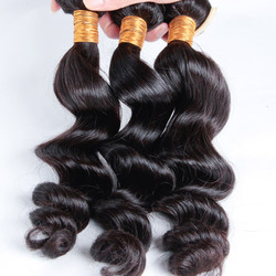 3 pcs/lot Natural Black 8A Loose Brazilian Virgin Hair Weave