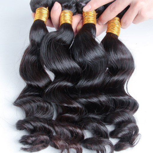 4 pcs/lot 8A Virgin Brazilian Hair Loose Wave Weave Natural Black bhw016