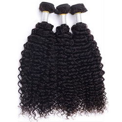 3 Bundle Kinky Curly 8A Virgin Brazilian Hair Weave Natural Black