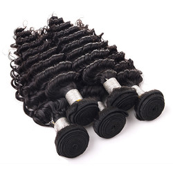 4 pcs 7A Virgin Brazilian Hair Weave Deep Wave Natural Black