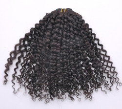 7A Virgin Indian Hair Extensions Kinky Curl Natural Black