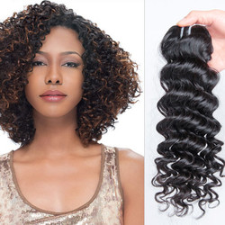 1 pcs 7A Virgin Indian Hair Extensions Deep Wave Natural Black ihw009