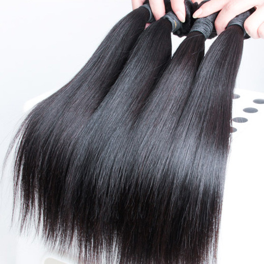 4 pcs 7A Silky Straight Malaysian Virgin Hair Weave Natural Black mhw004