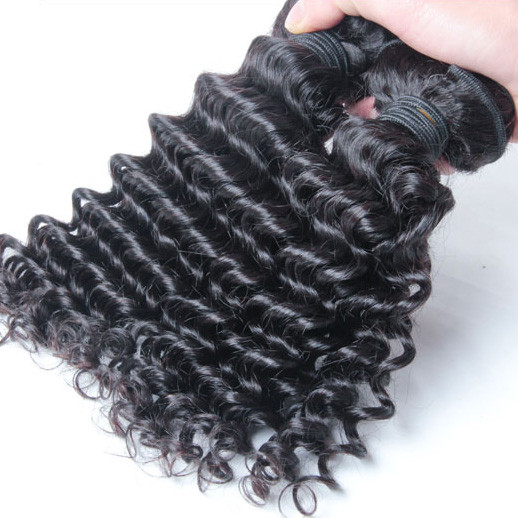 2 pcs 7A Deep Wave Malaysian Virgin Hair Weave Natural Black mhw010