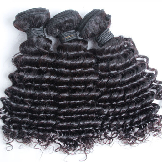 3 pcs 7A Virgin Malaysian Hair Weave Deep Wave Natural Black mhw011