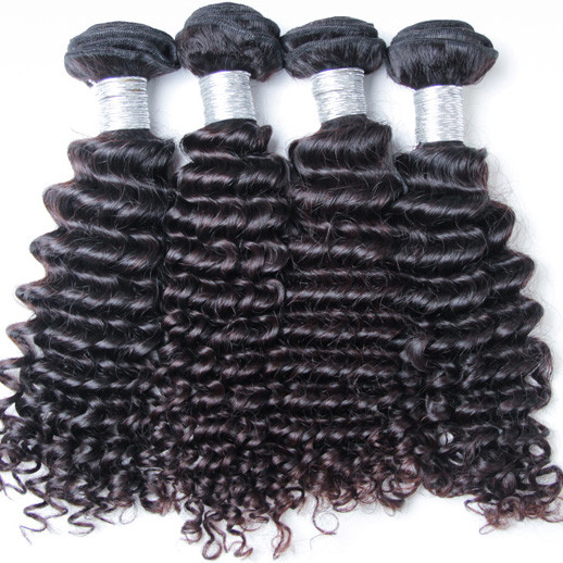 4 pcs 7A Deep Wave Virgin Peruvian Hair Weave Natural Black phw012