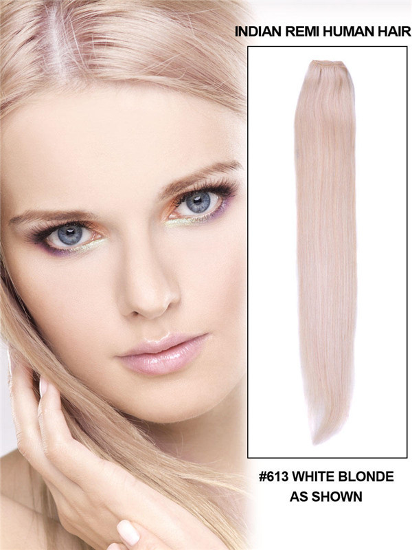 Silky Straight Virgin Indian Remy Hair Extensions Bleach White Blonde(#613)