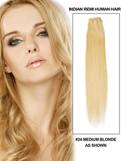 Silky Straight Virgin Indian Remy Hair Extensions Medium Blonde(#24)