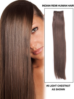 Silky Straight Virgin Indian Remy Hair Extensions Light Chestnut(#8) rhw003