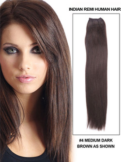 Silky Straight Virgin Indian Remy Hair Extensions Medium Brown(#4)