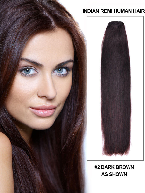 Silky Straight Virgin Indian Remy Hair Extensions Dark Brown(#2)
