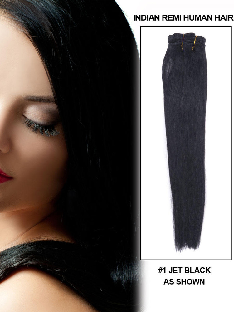 Silky Straight Virgin Indian Remy Hair Extensions Jet Black(#1) rhw007