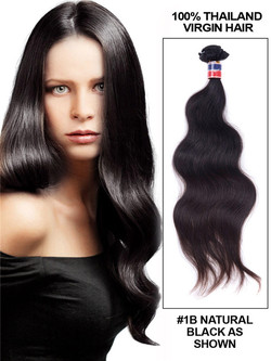 7A Virgin Thailand Hair Weave Body Wave Natural Black thw001