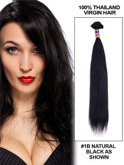 7A Virgin Thailand Silky Straight Hair Weave Natural Black thw002