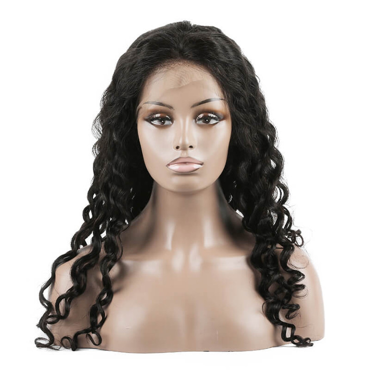 Lace Front Human Hair Water Wave Wigs, 10-30 Inch  Smooth & Shiny lfw013